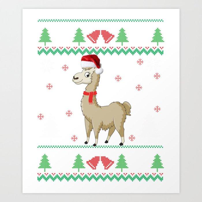 Llama Christmas.Fa La La Llama Christmas Ugly Design Product Art Print By Kayelex