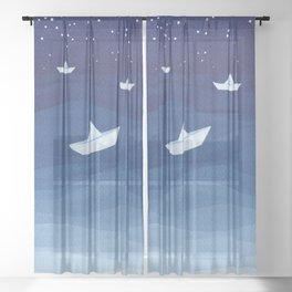 Paper boats illustration Sheer Curtain