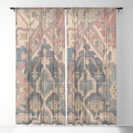 Geometric Leaves I // 18th Century Distressed Red Blue Green Colorful Ornate Accent Rug Pattern Sheer Curtain