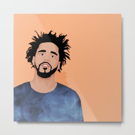 J Cole, Salmon Metal Print