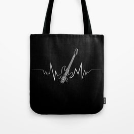 Electric Guitar Heartbeat Cool Gift for Guitarists Tote Bag