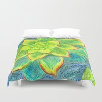 succulents Duvet Covers featuring Succulents by Leah Cox