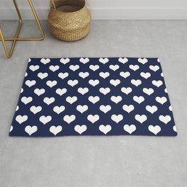 Navy Blue Love Hearts Minimal Rug