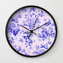 blue earthenware vintage floral Wall Clock