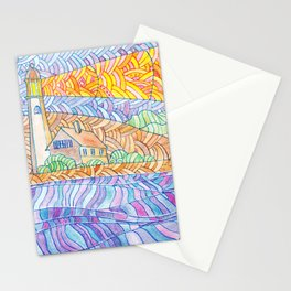 Lighthouse. abstract colorful background Stationery Cards