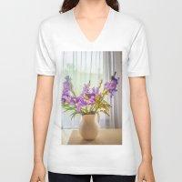 iris V-neck T-shirts featuring Iris by Svetlana Korneliuk
