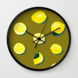 60s Lemon Pattern on Olive Wall Clock