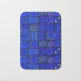 -A2- Lovely Calm Blue Traditional Moroccan Pattern Artwork. Bath Mat