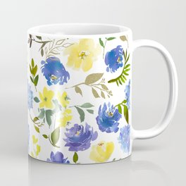Hand painted yellow blue watercolor leaves floral pattern Coffee Mug