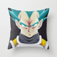vegeta Throw Pillows featuring Vegeta Portrait Painting by ADCArtAttack