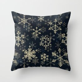 Snowflake Crystals in Gold Throw Pillow