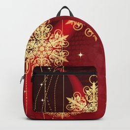 Pretty Christmas Ornaments Red Gold Holiday Decor Backpack