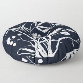 bamboo and plum flower white on black Floor Pillow
