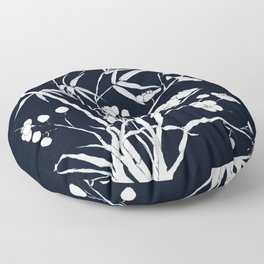 bamboo and plum flower white on black Floor Pillow