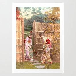 Japanese women walking on stepping stones Art Print