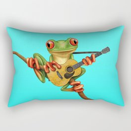 Cute Green Tree Frog Playing an Old Acoustic Guitar Rectangular Pillow