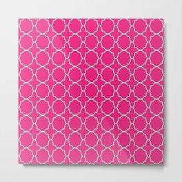 Rose Pink Quatrefoil Pattern Metal Print