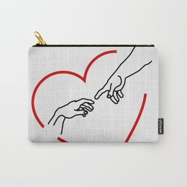 The creation of Adam- The hands of God and Adam within a red heart Carry-All Pouch