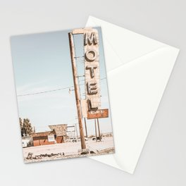 Retro Motel and Coffee Shop on the Old Route 66 Stationery Cards