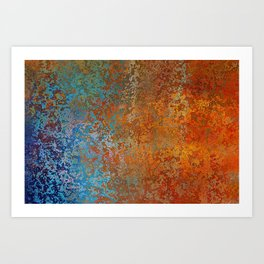 Vintage Rust, Copper and Blue Art Print