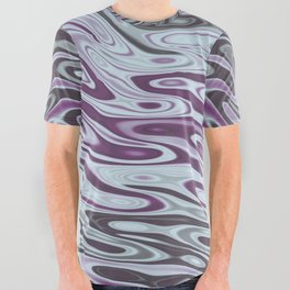 Ripples Fractal in Muted Plums All Over Graphic Tee