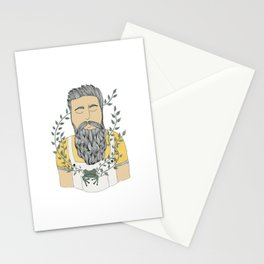 Man and frog.  Stationery Cards