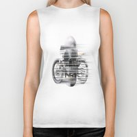 cafe racer Biker Tanks featuring SKULL AND CAFE RACER by Joedunnz