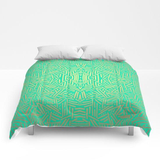 Radiate (Yellow/Ochre Teal- non metallic) Comforters