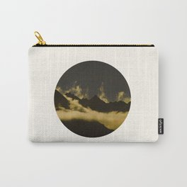 Mid Century Modern Round Circle Photo Graphic Design Mysterious Black Mountains With Rising Clouds Carry-All Pouch