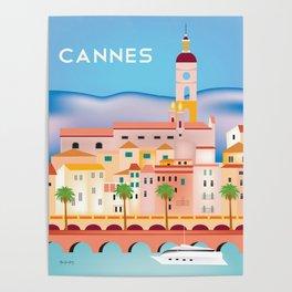 Cannes, France- Skyline Illustration by Loose Petals Poster
