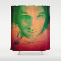 apollo Shower Curtains featuring Apollo incarnate by Angela Pesic
