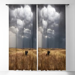 Life on the Plains - Cow Watches Over Playful Calf in Oklahoma Blackout Curtain