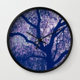 Cherry Blossom Blue Wall Clock