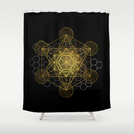 Sacred Geometry Metatrons Cube  Shower Curtain