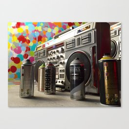 Spray cans and beats Canvas Print