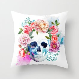 Watercolor skull & flowers Throw Pillow