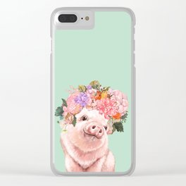 Baby Pig with Flowers Crown in Pastel Green Clear iPhone Case
