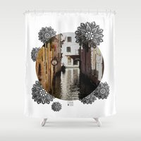 venice Shower Curtains featuring Venice by Caroline Fogaça