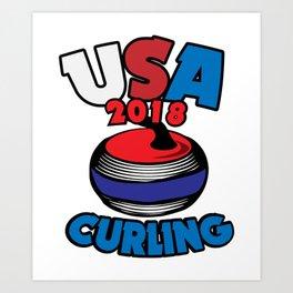 USA 2018 Curling American Curler Winter Sport Art Print