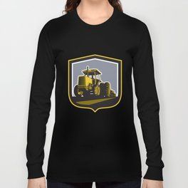 Farmer Driving Vintage Farm Tractor Plowing Retro Long Sleeve T-shirt