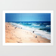 Alone with the calming waves Art Print