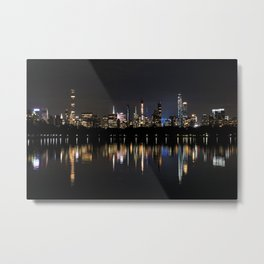 Manhattan Skyline Reflecting in a Lake in Central Park Metal Print