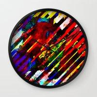 stripe Wall Clocks featuring stripe by barmalisiRTB