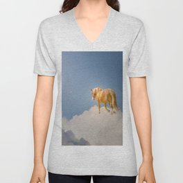 Walking on clouds over the blue sky Unisex V-Neck