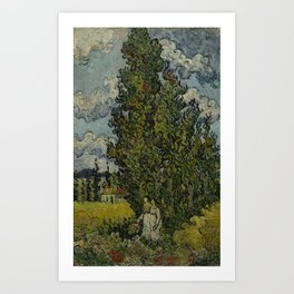 Cypresses and Two Women Art Print
