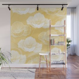 Poppy bloom - yellow Wall Mural