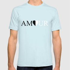 AMOUR LOVE Black And White Design SMALL Light Blue Mens Fitted Tee