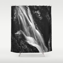 Black and white waterfall in Hell Gorge, Slovenia Shower Curtain