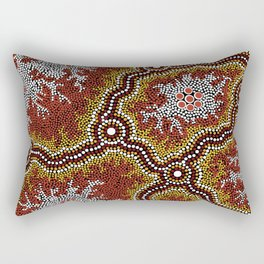 Aboriginal Art Authentic - Mountains Rectangular Pillow