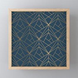 Benjamin Moore Hidden Sapphire Gold Geometric Pattern With White Shimmer Framed Mini Art Print